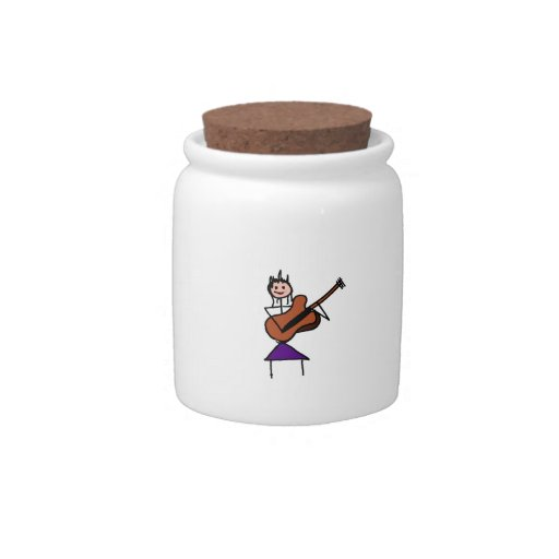 female guitar stick figure brown w pink face candy jar