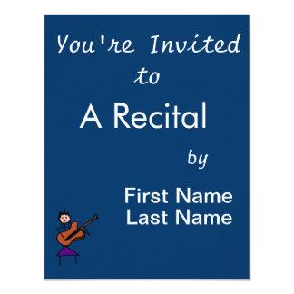 """female guitar stick figure brown w pink face 4.25"""" x 5.5"""" invitation card"""