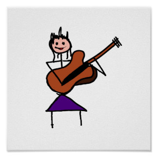 female guitar stick figure brown w pink face posters