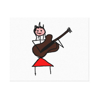 female guitar stick figure brown w pink face red canvas print