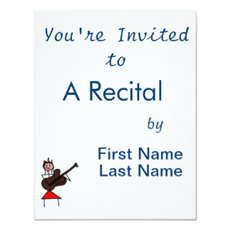 "female guitar stick figure brown w pink face red 4.25"" x 5.5"" invitation card"