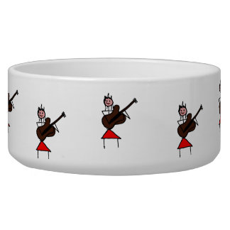 female guitar stick figure brown w pink face red dog bowl