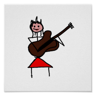 female guitar stick figure brown w pink face red posters