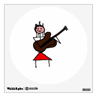 female guitar stick figure brown w pink face red wall sticker
