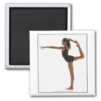 Female gymnast (12-13) balancing on one leg 2 inch square magnet