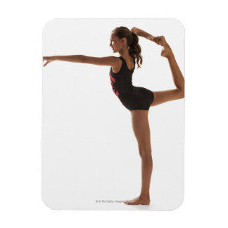 Female gymnast (12-13) balancing on one leg rectangular photo magnet