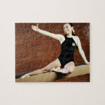 Female gymnast practicing on a balance beam and jigsaw puzzles