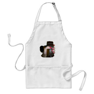 Female hand holding four string bass neck apron
