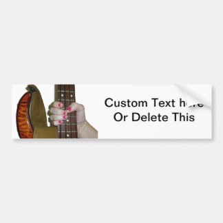 female hand holding four string bass neck bumper sticker
