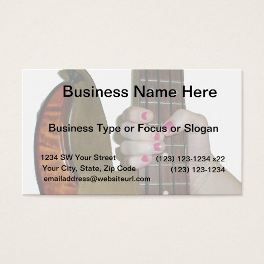 female hand holding four string bass neck business card