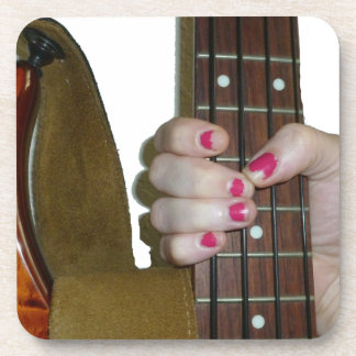 female hand holding four string bass neck coasters