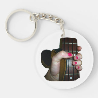 Female hand holding four string bass neck Double-Sided round acrylic keychain