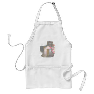 female hand holding four string bass neck faded aprons