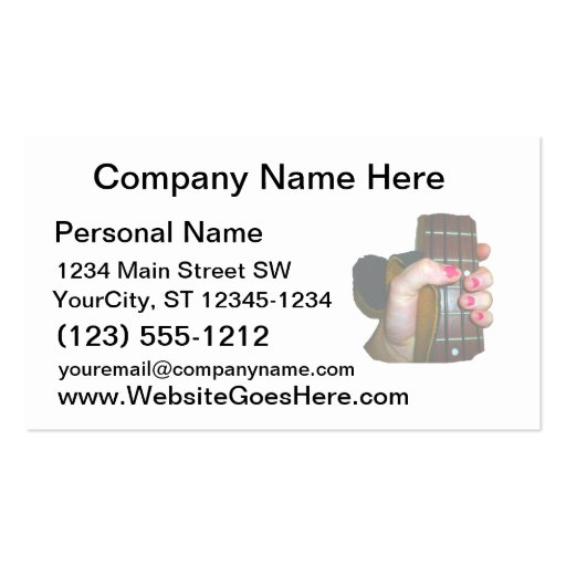 female hand holding four string bass neck faded business card template
