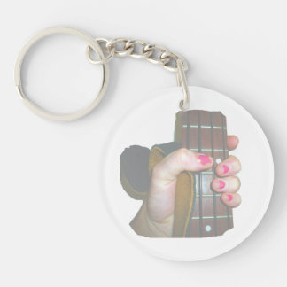 female hand holding four string bass neck faded Double-Sided round acrylic keychain