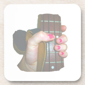 female hand holding four string bass neck faded drink coaster