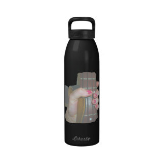 female hand holding four string bass neck faded reusable water bottles
