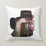 Female hand holding four string bass neck pillow