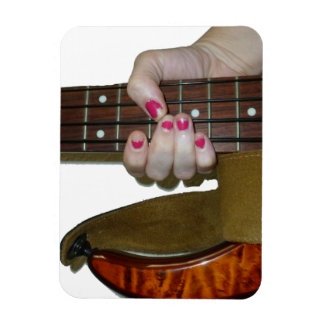 female hand holding four string bass neck rectangle magnets