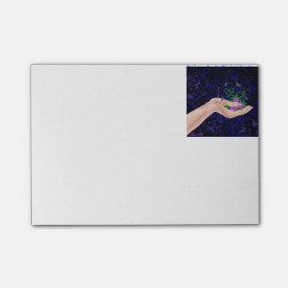 Female Hand Holding Pansy Flowers Post-it Notes