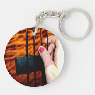 female hand pulling bass string 1 posterized Double-Sided round acrylic keychain
