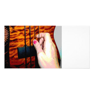 female hand pulling bass string 1 posterized picture card
