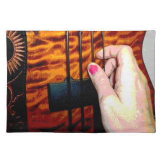 female hand pulling bass string 1 posterized placemat