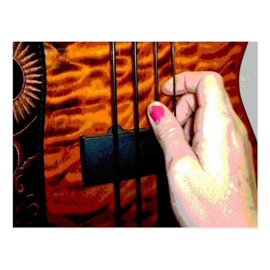 female hand pulling bass string 1 posterized postcard
