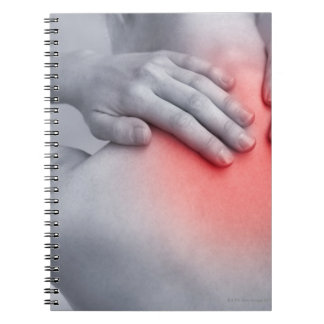 Female hands hold the base of the neck between notebook