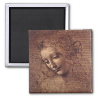 Female Head 2 Inch Square Magnet