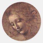Female Head Round Stickers