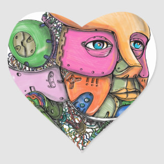 Female Humanoid Robot Head Tattoo Heart Sticker