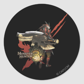Female Hunter with Switch Axe, Rathalos Armor Classic Round Sticker