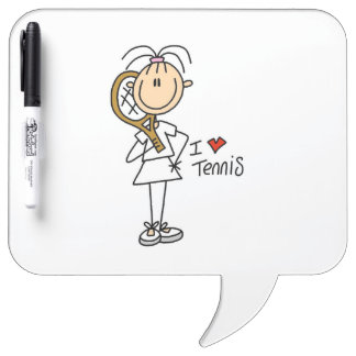 Female I Love Tennis Dry Erase Boards