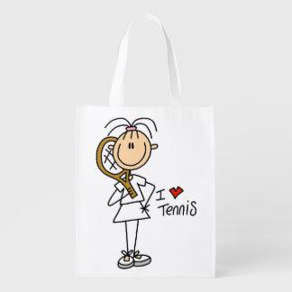 Female I Love Tennis Grocery Bag