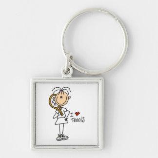Female I Love Tennis Silver-Colored Square Keychain