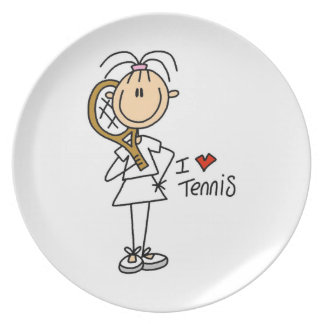 Female I Love Tennis Melamine Plate