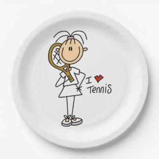 Female I Love Tennis Paper Plates