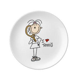 Female I Love Tennis Porcelain Plate