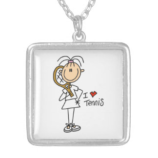 Female I Love Tennis Silver Plated Necklace