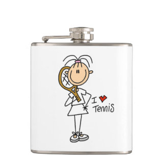 Female I Love Tennis Vinyl Wrapped Flask