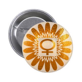 Female Icon Symbol : Golden Sunflower Energy 2 Inch Round Button