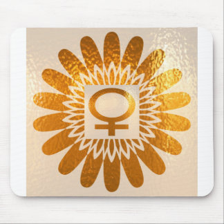 Female Icon Symbol Golden Sunflower Energy Mouse Pads