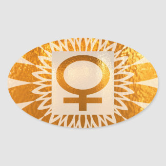 Female Icon Symbol Golden Sunflower Energy Oval Stickers