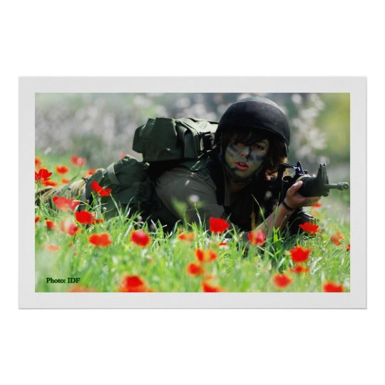 Female IDF In Camouflage Poster