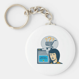 Female Internet Shopper Shopping Cart Keychain