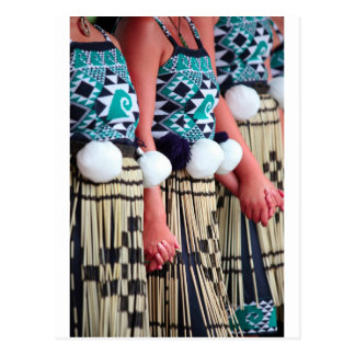 Female Kapa Haka Maori dancing Waitangi Day Postcard