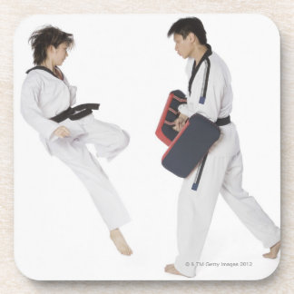 Female karate instructor teaching martial arts drink coaster