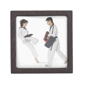 Female karate instructor teaching martial arts gift box
