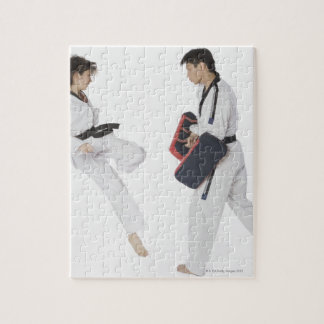 Female karate instructor teaching martial arts jigsaw puzzle